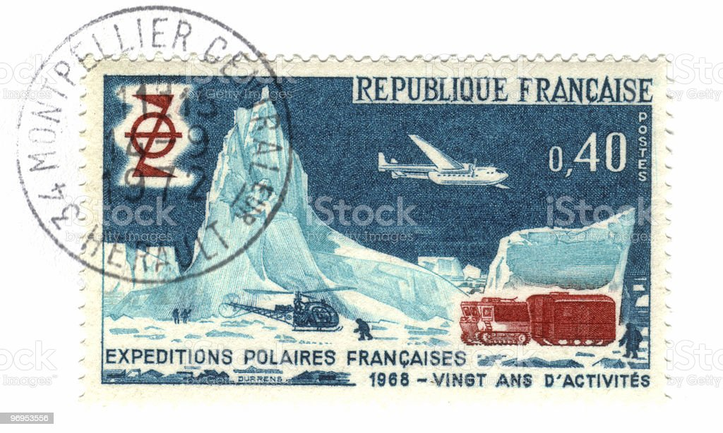 Old french stamp - Polar exploration 1968 royalty-free stock photo