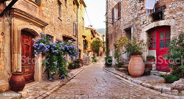 """""""Old, romantic, french stone street panorama,very romantic and typical for Nice city region"""""""