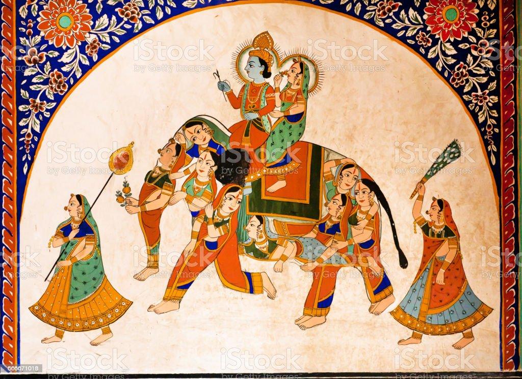 Old fresco with Krishna and Radha riding the weird elephant stock photo