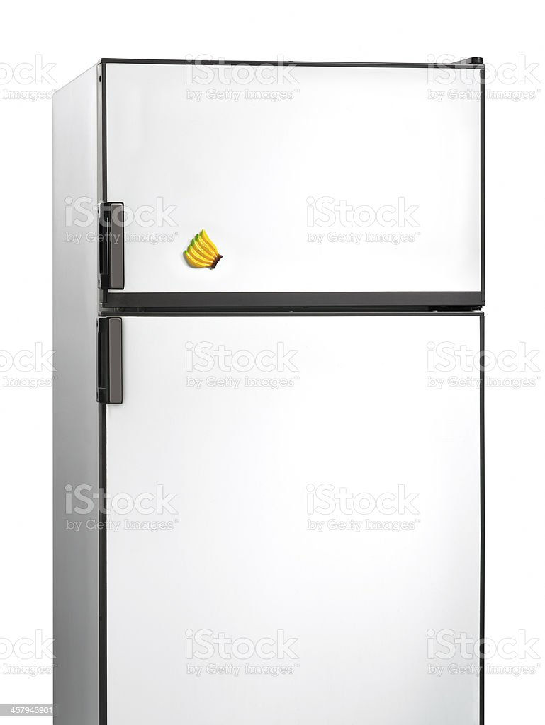 Old fridge with banana plastic magnet stock photo