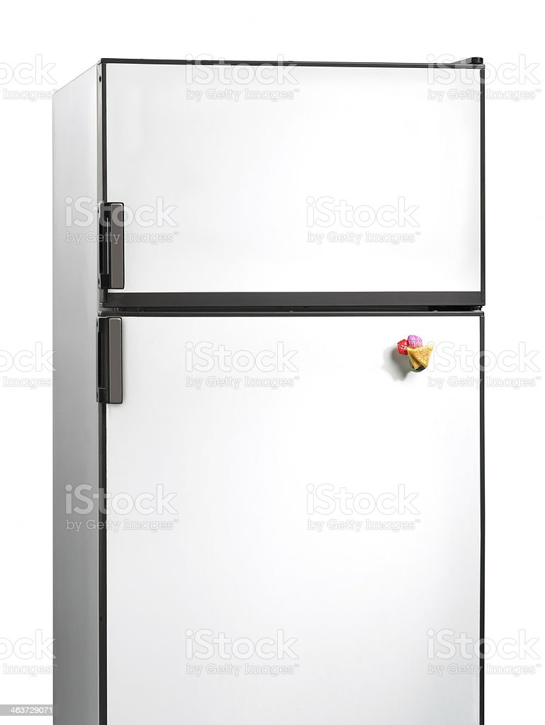 Old fridge with plastic magnet stock photo