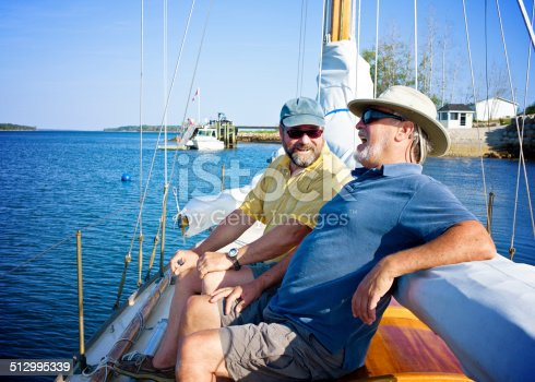 Old Friends Laughing on a Sailboat, Mahone Bay Nova Scotia