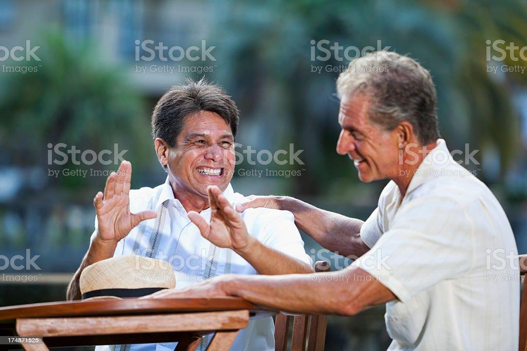 Old friends talking stock photo