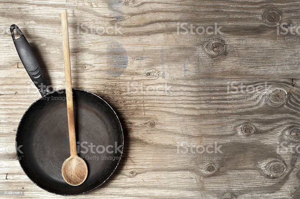 Old frying pan stock photo