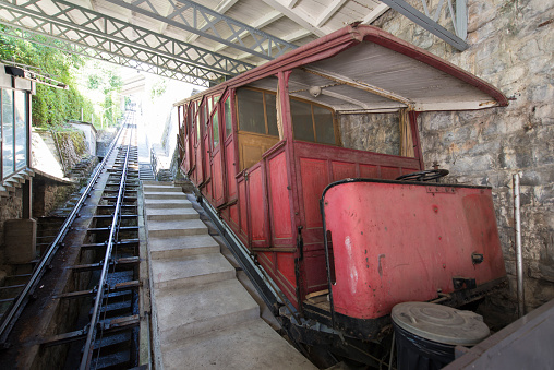 Old funicular at the Territet-Glion funicular railway, Switzerland