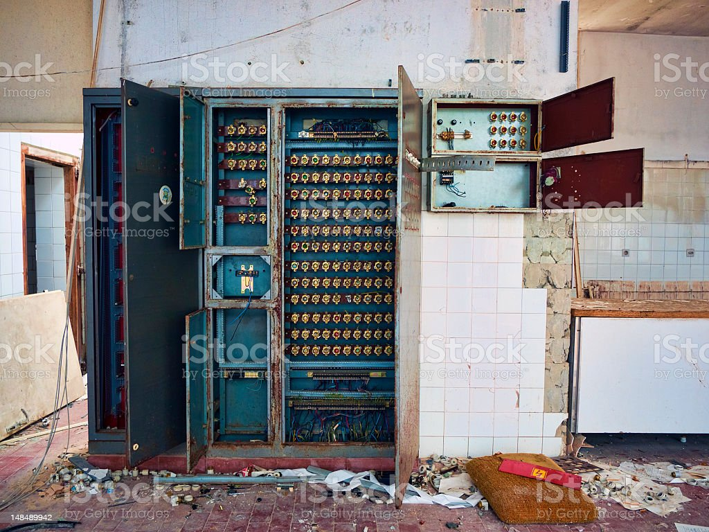 Old fuse box royalty-free stock photo