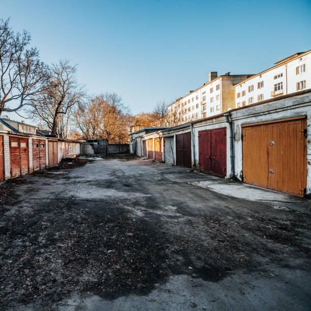 Old garages - Tallinn, Estonia stock photo