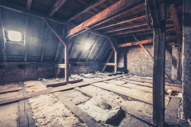 old garret, attic loft / roof construction stock photo