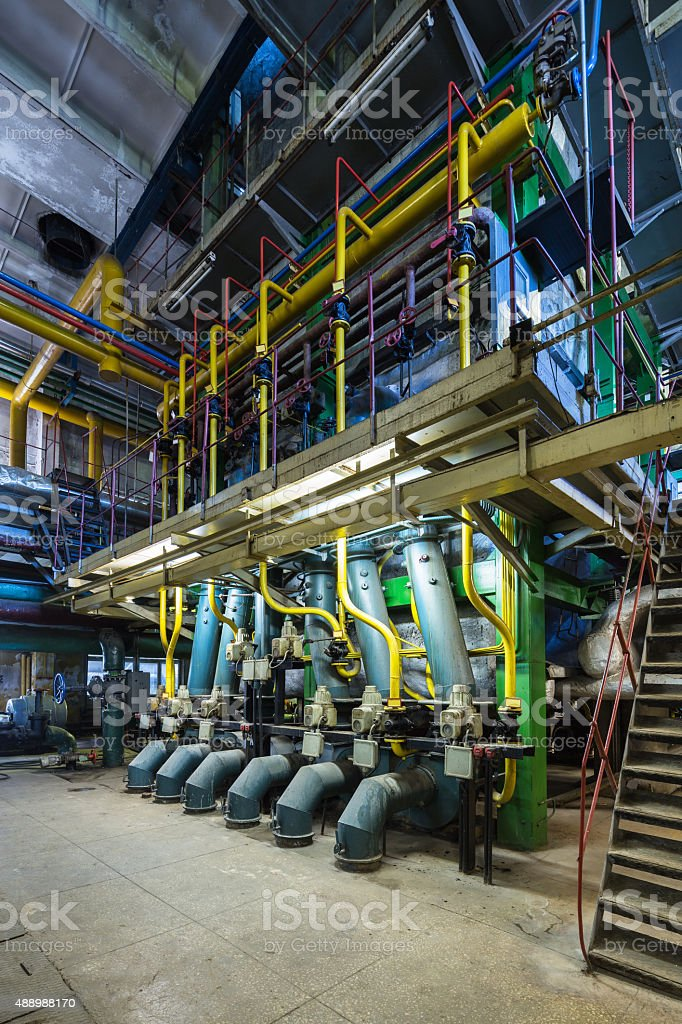 Old gas boiler stock photo