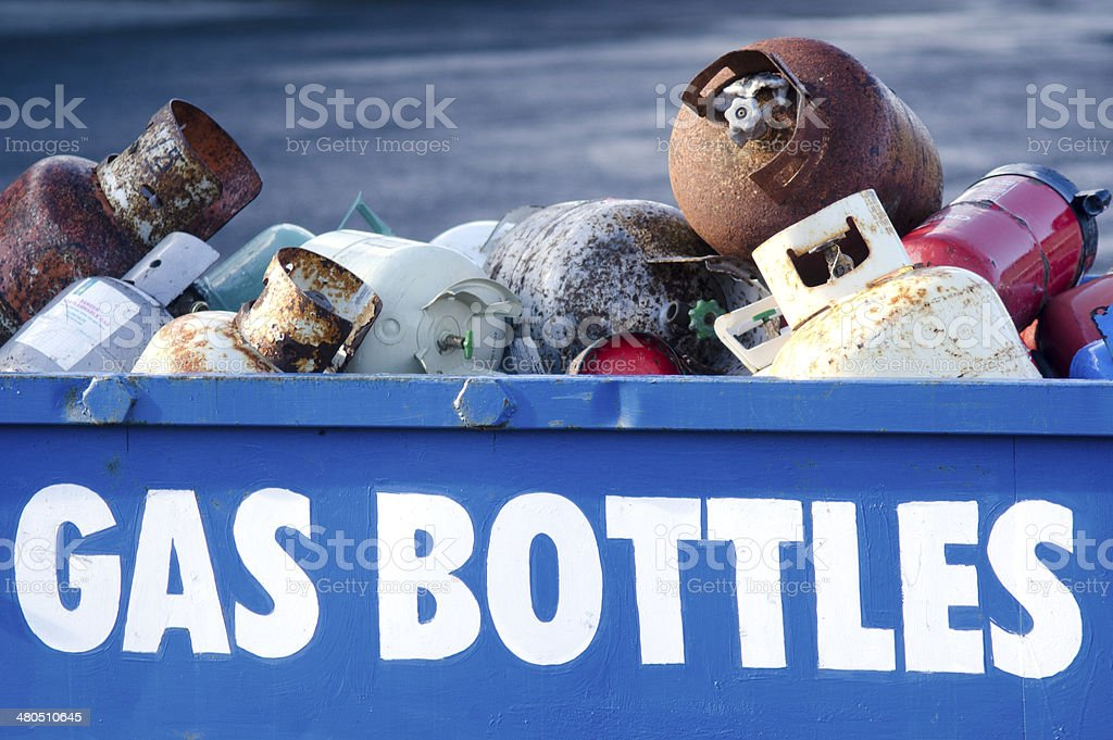 Old gas cylinders stock photo