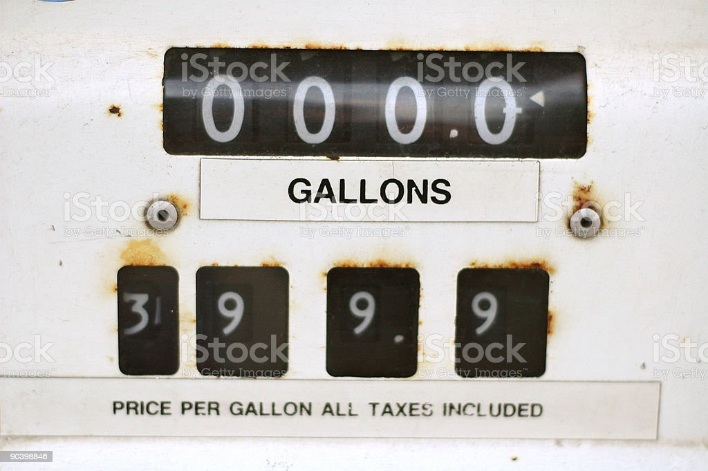 Old Gas Pump Dial stock photo