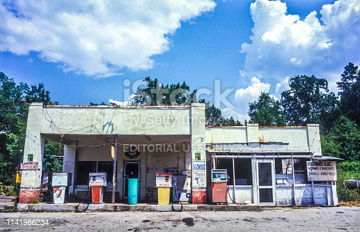 Old gas station and fish shop for bait and equipment in near Baton Rouge, USA.The Missisippi river is nearby