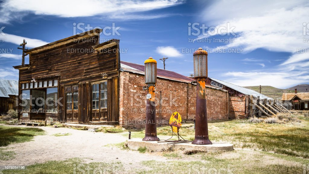 Old Gas Station In Abandoned Ghost Town Bodie With Bullet Holes On Gasoline Sign California California Stock Photo Download Image Now Istock