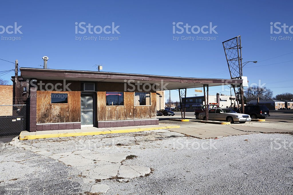 Old Gas Station in Ashburn, Chicago royalty-free stock photo