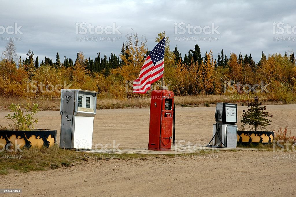 Old gas station in Boundar,Alaska,USA royalty-free stock photo