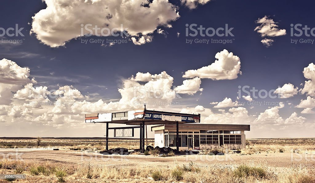 Old gas station in ghost town along the route 66 stock photo