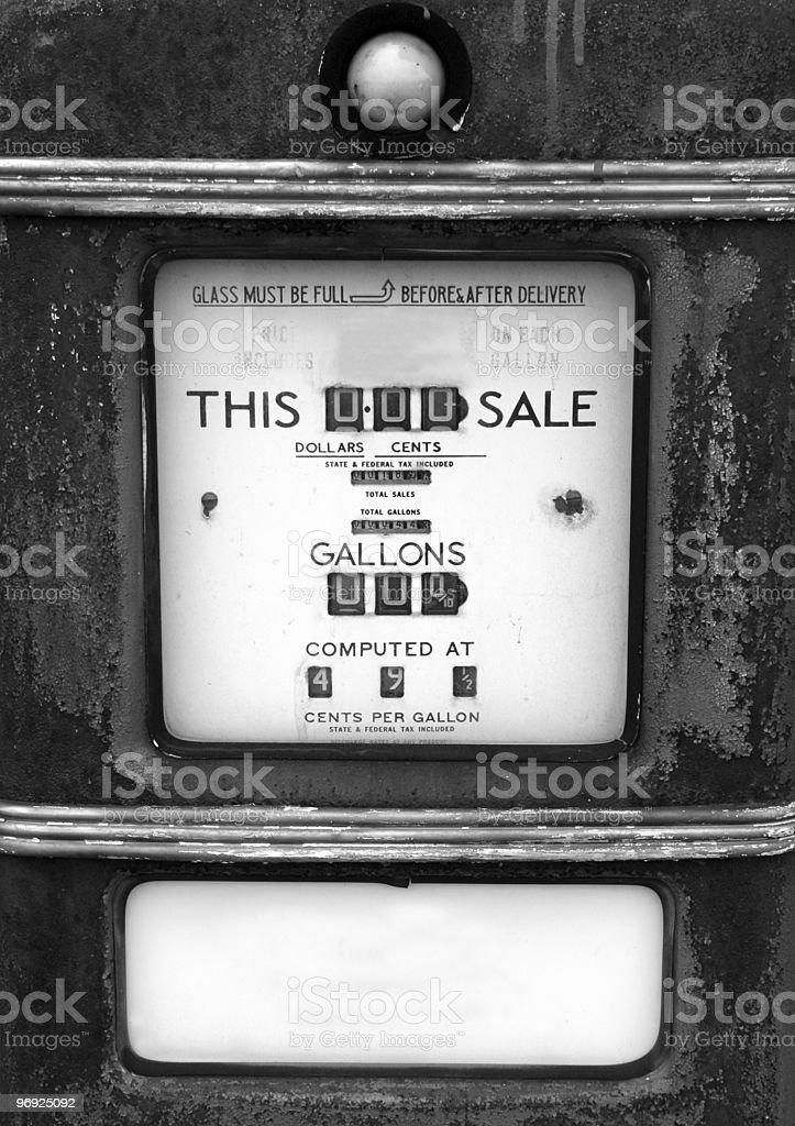 Old Gasoline Pump Black & White royalty-free stock photo