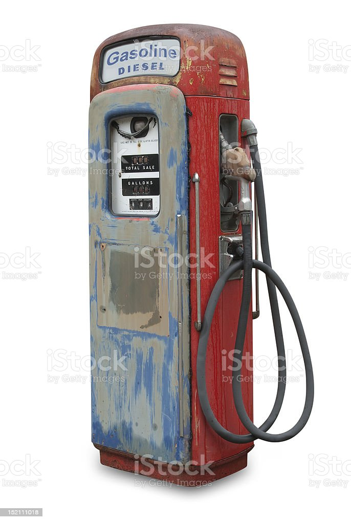 Old Gasoline Pump Isolated Stock Photo - Download Image Now