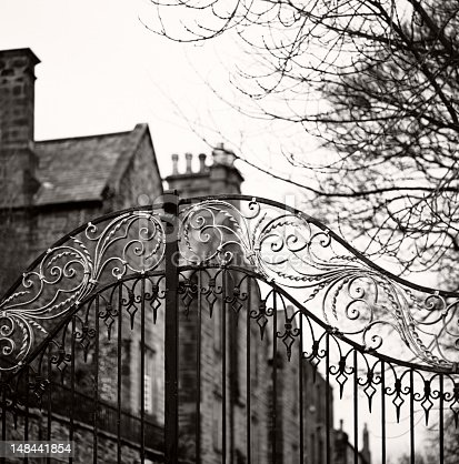An old gate in Durham, England. Focus on the gate. Black and white film photography