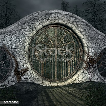 914134406 istock photo Old gate in the black forest 1208580560