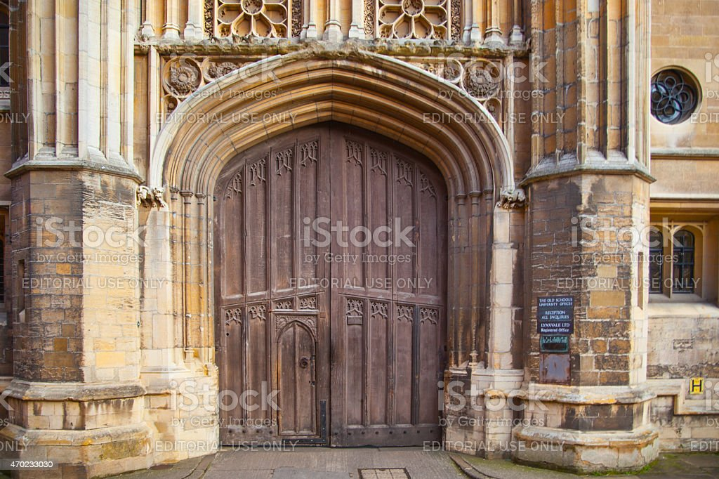 Old gate of King's college, Cambridge stock photo