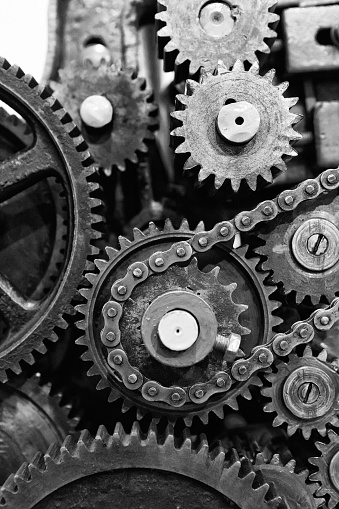 Old Gears And Cogs Of Engine Mechanism Stock Photo