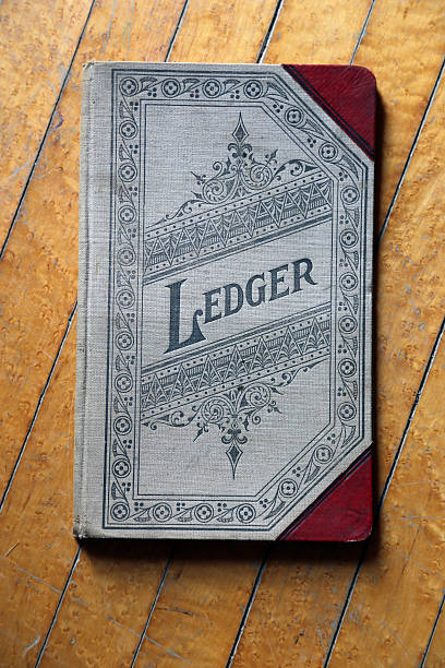 Old General Ledger Ornate decorative cover of circa 1900s style ledger accounting ledger stock pictures, royalty-free photos & images