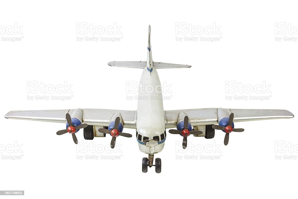 Old generic commercial airplane model isolated on white royalty-free stock photo
