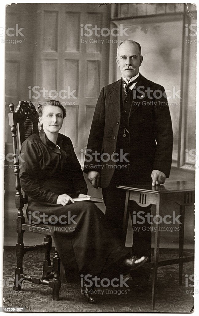 Old Gent and Lady Victorian / Edwardian gentleman & wife. 19th Century Style Stock Photo