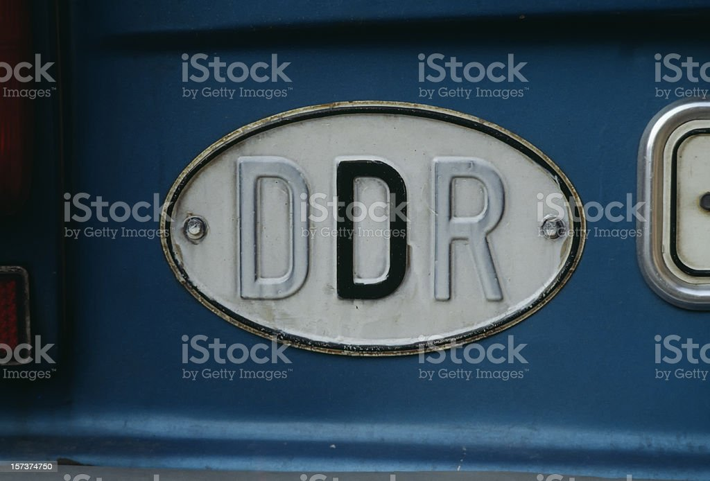 Old German Democratic Republic  Car Sign stock photo