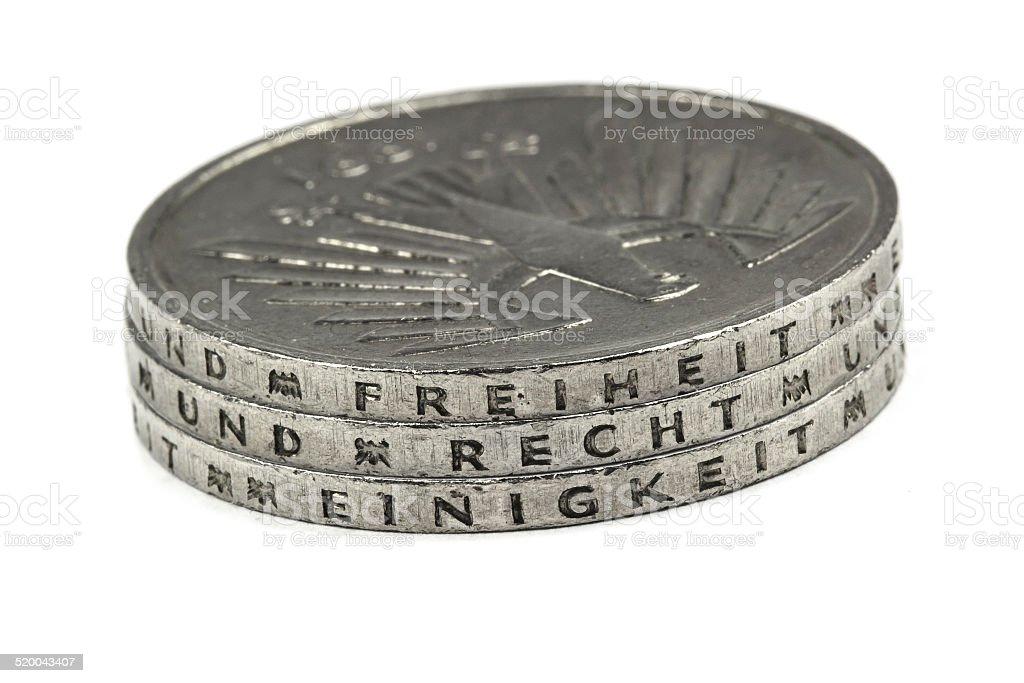Old German Deutsche Mark coin stock photo