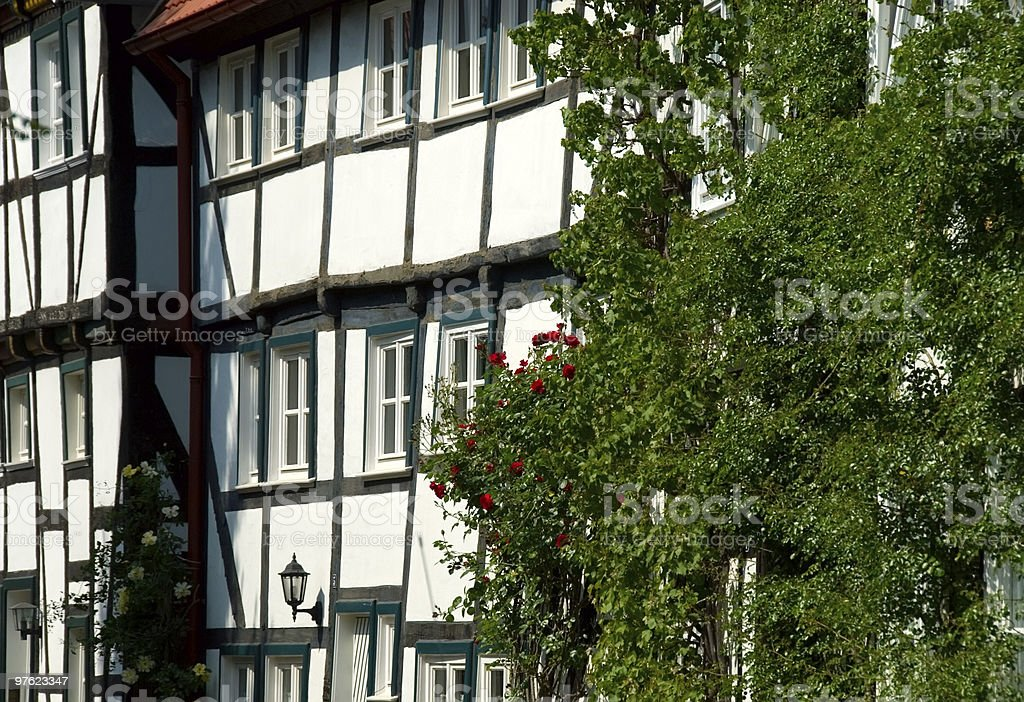 Old German framework, half-timbering house royaltyfri bildbanksbilder