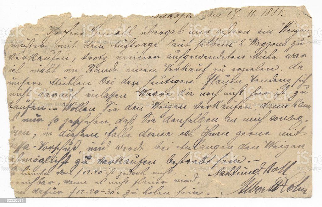 Old german handwriting - circa 1881 stock photo