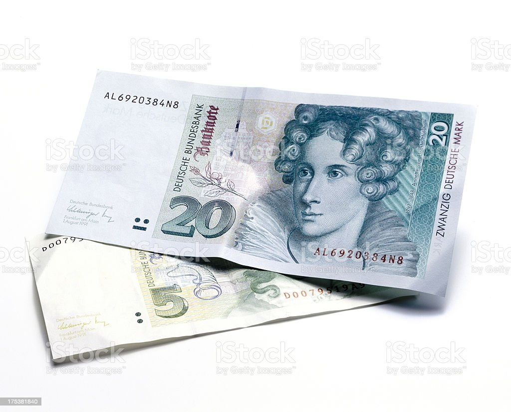 old German Mark bills stock photo