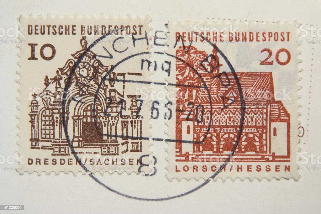 Old German post stamps stock photo