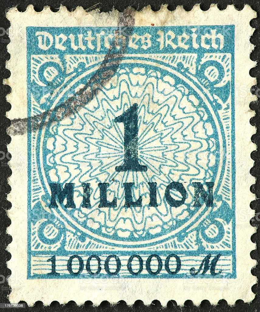 Old German Stamp With One Million Overprint Royalty Free Stock Photo