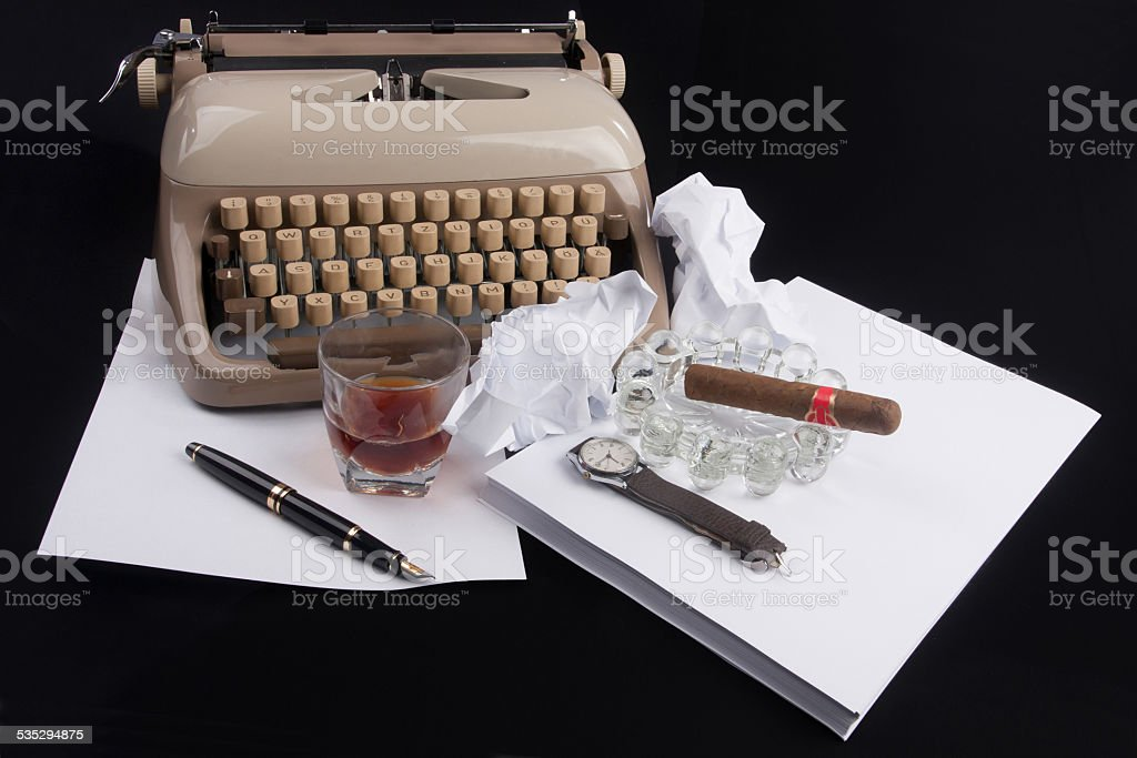 Old german type writer with paper, cigar stock photo