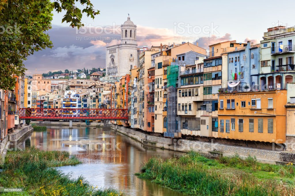 Old Girona town, view on river Onyar stock photo