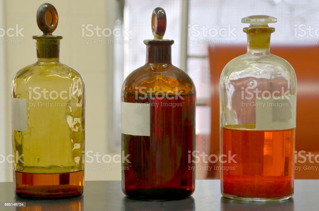 Old glass bottles stock photo