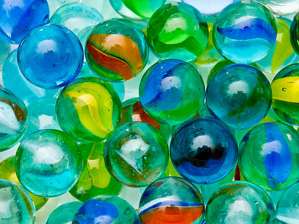 Old glass marbles stock photo