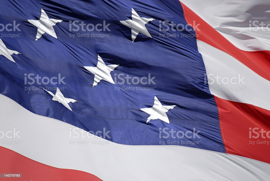 Old glory American flag waving in the wind close up royalty-free stock photo