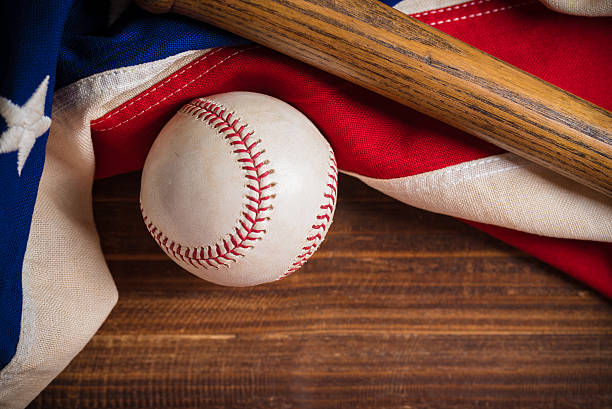 Old Glory and the National pastime stock photo