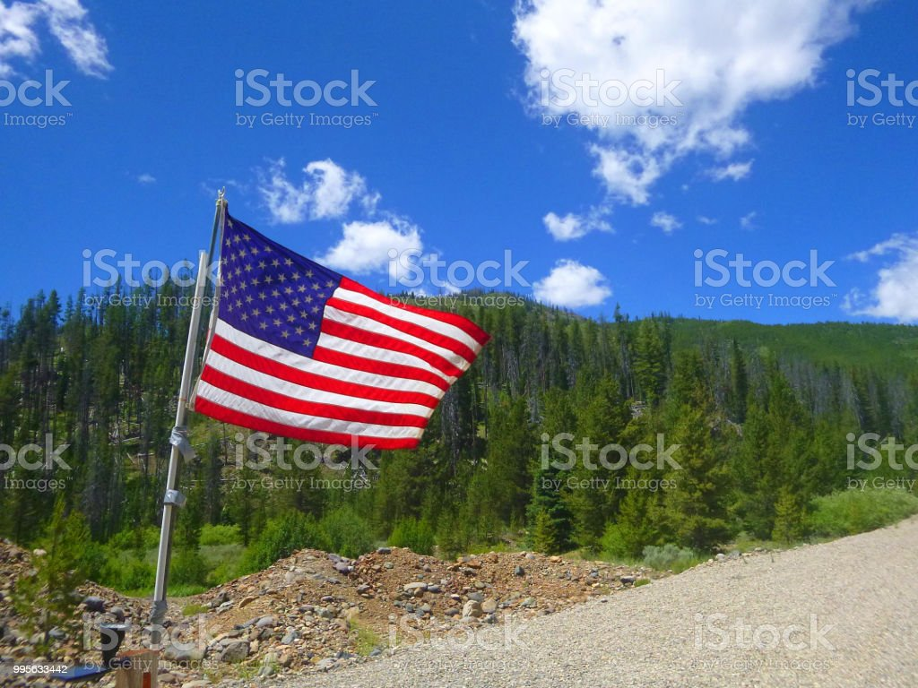 Old Glory by Custer Ghost Town. stock photo