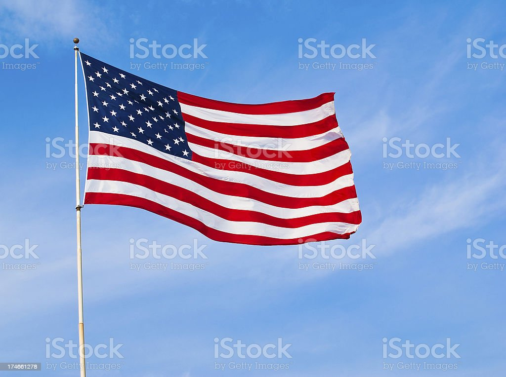Old Glory in a Strong Breeze stock photo
