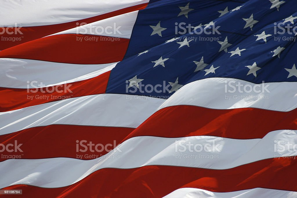 Old glory - Real photo of american flag stock photo