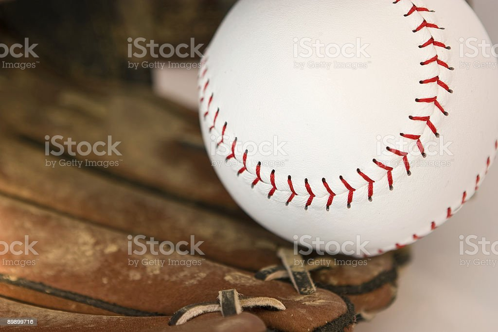 old glove with new ball royalty-free stock photo
