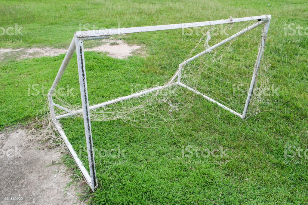 Old goal football not in use. stock photo