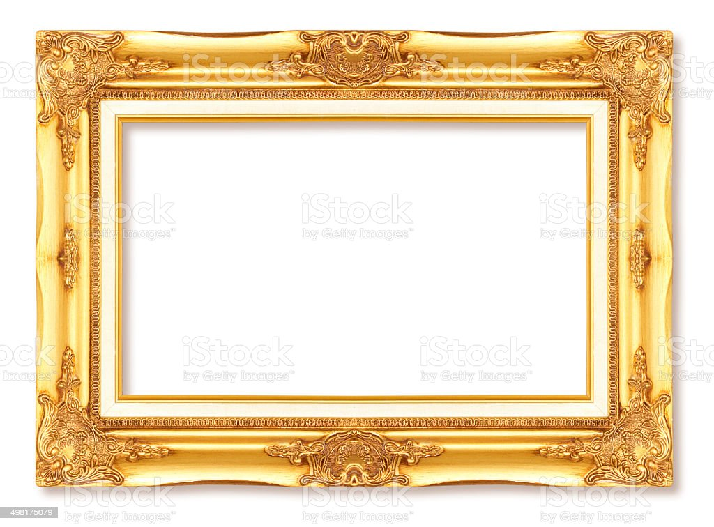 Old Gold Antique Picture Frames Isolated On White Background Stock ...