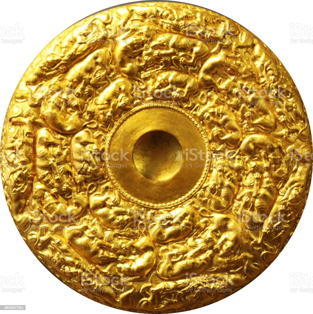 old gold coin from the museum stock photo