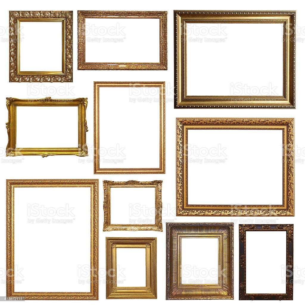 Old gold picture  frames stock photo